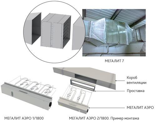 Схема подсоединения УФ-модуля и ячейки к воздуховоду